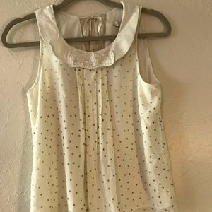 Lauren Conrad Cream and Gold Blouse Size XS